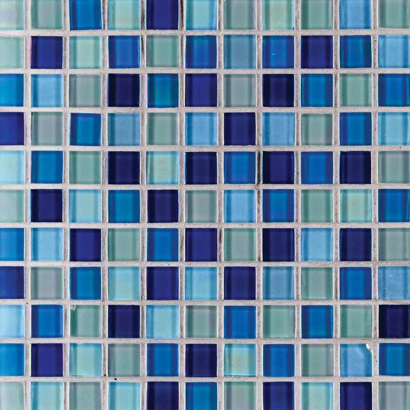 Iridescent Blue Blend 1x1 Glass Tile Msi Internatonal Glass Mosaic Tiles Mosaic Glass Mosaic Tiles