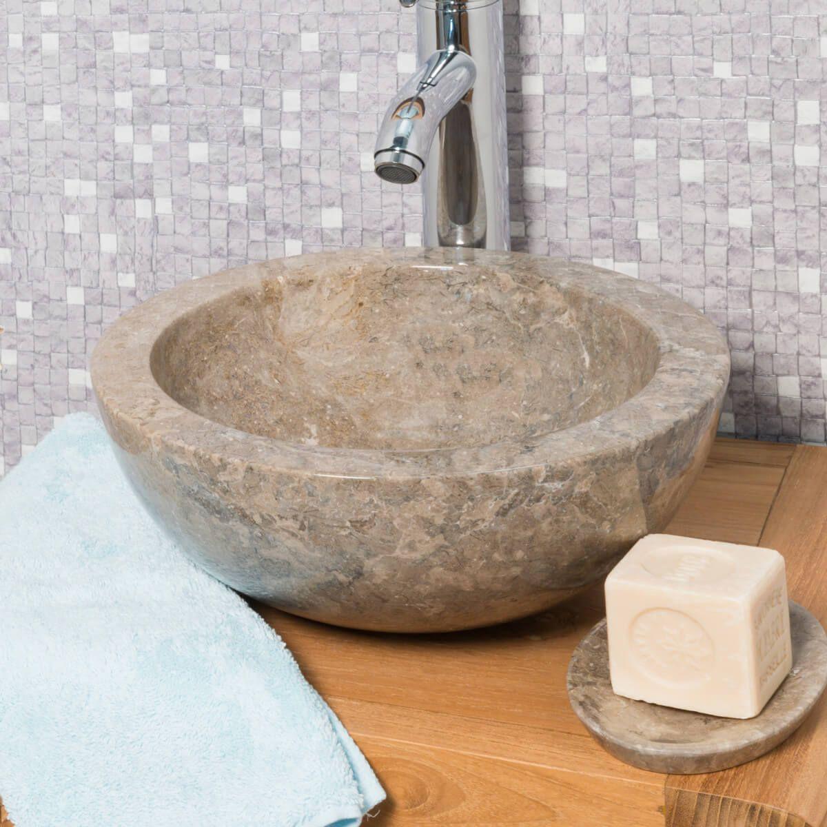 Vasque Ronde BARCELONE  poser en marbre de couleur Gris