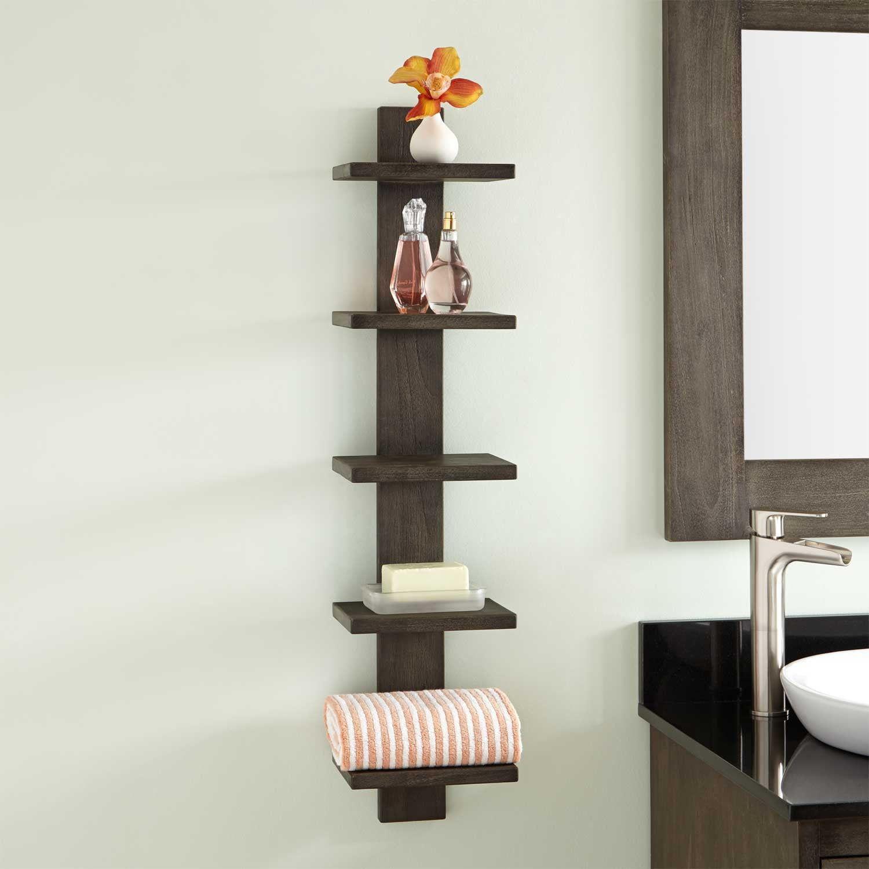 Bastian Hanging Bathroom Teak Shelf Five Shelves Shelves Cool