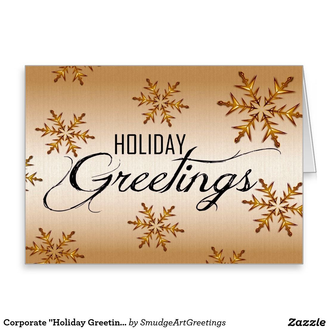 Corporate Holiday Greetings Gold Snowflakes Business