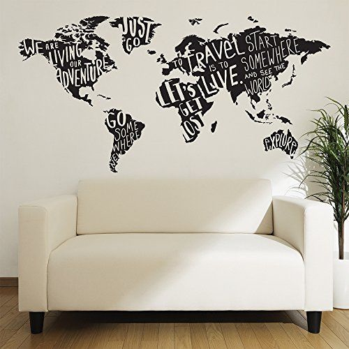 Peel and stick wall decals giant world map adventure https world map wall decal mural sticker diy art removable vinyl home decor stickers gumiabroncs Images