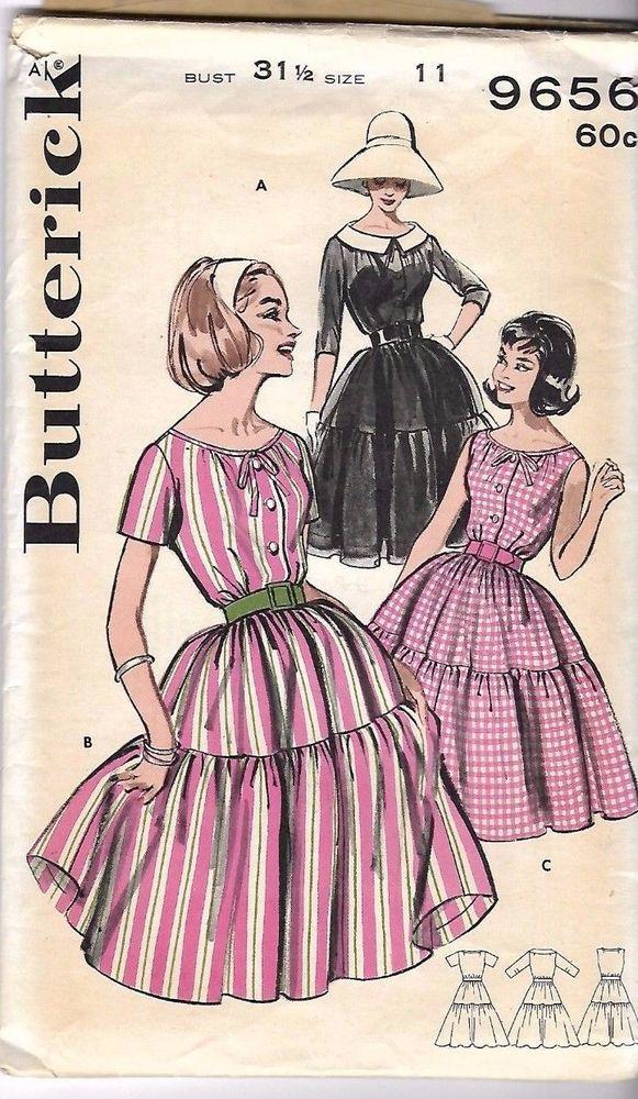 Vintage 1950\'s/60\'s Bardot Summer Dress Full Skirt Tied Neckline B ...