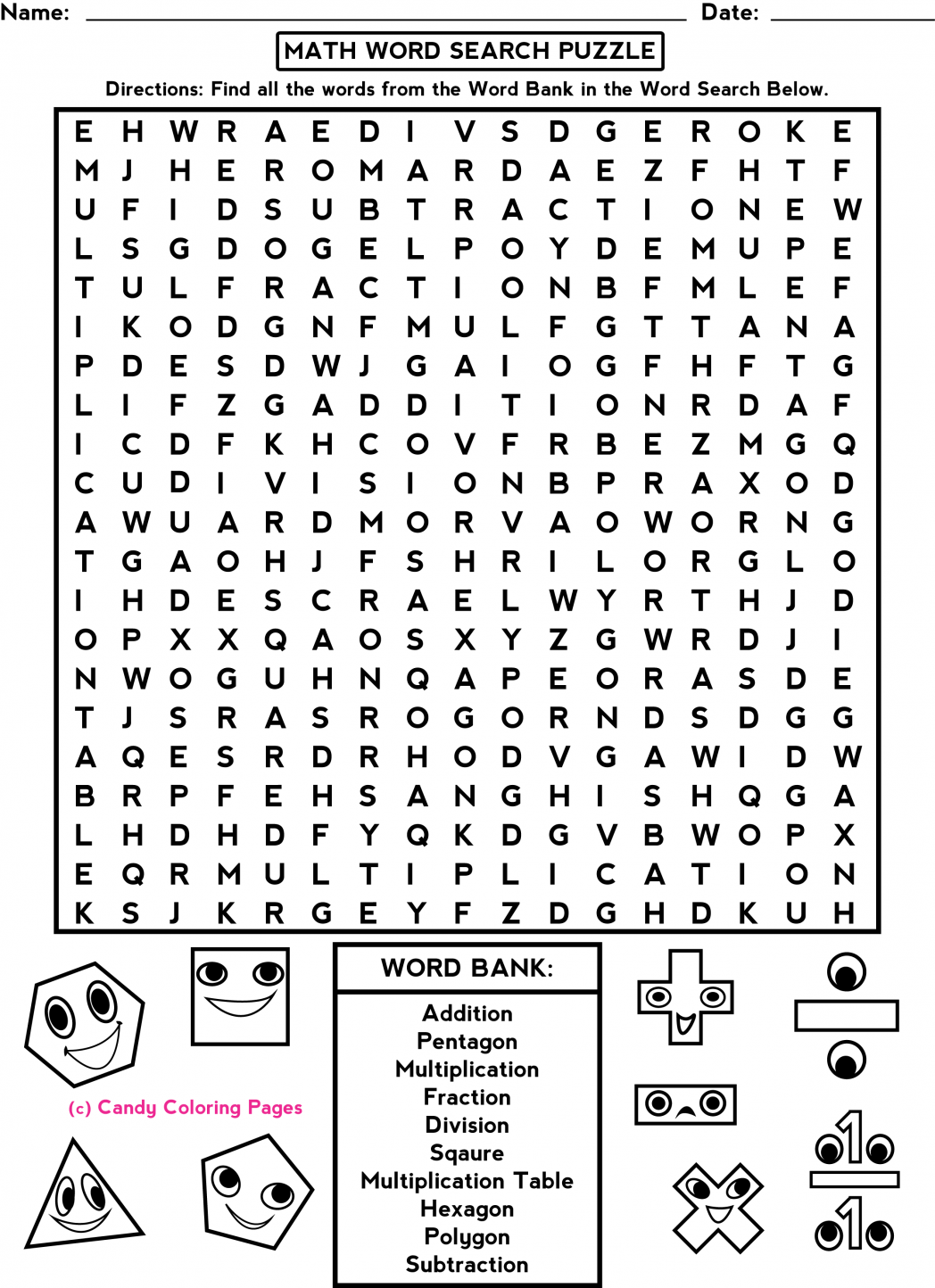 Middle School Fun Activity Worksheet