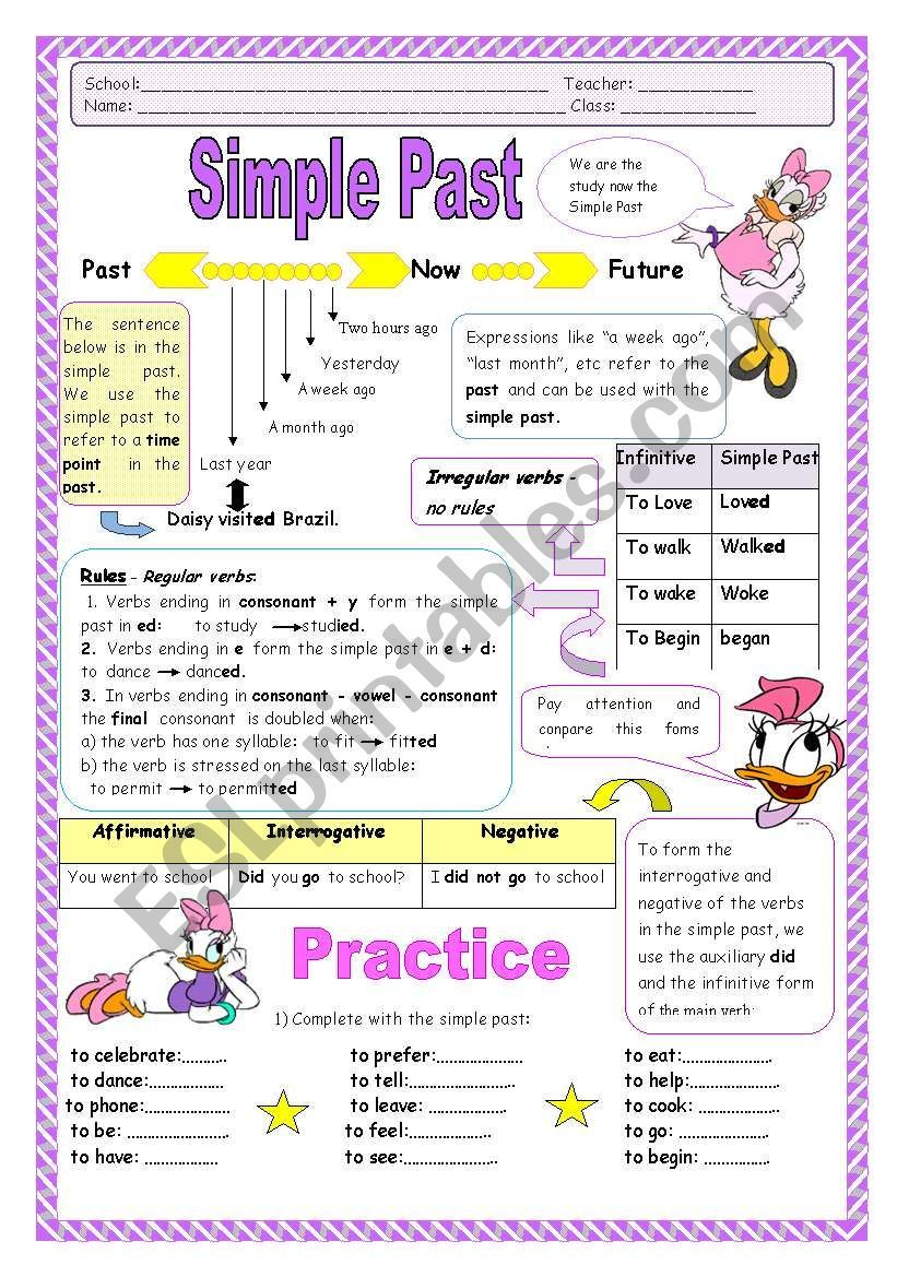 This Worksheet Contain A Bit Grammar Theory And Various Exercises About Past Simple 1 Compl Simple Past Tense Worksheet Simple Past Tense Past Tense Worksheet [ 1169 x 821 Pixel ]