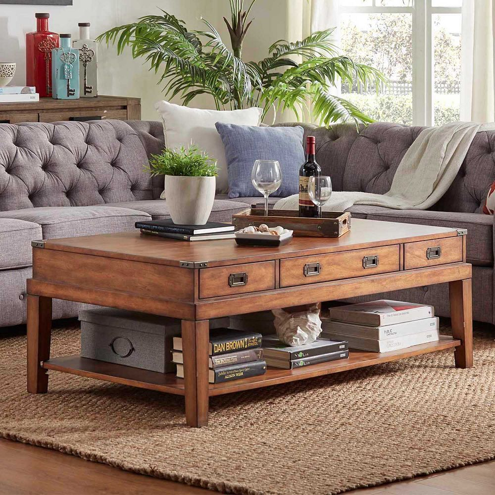 Homevance sanford 3 drawer coffee table brown coffee and products homevance sanford 3 drawer coffee table brown geotapseo Choice Image