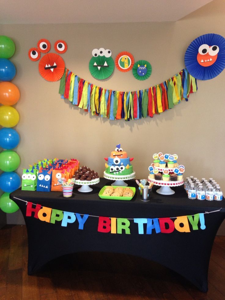 Monster Party First Birthday Party Boy Monster Theme Colorful Fun 1st Birthday Monster 1st Birthdays Monster First Birthday Monster Birthday Parties
