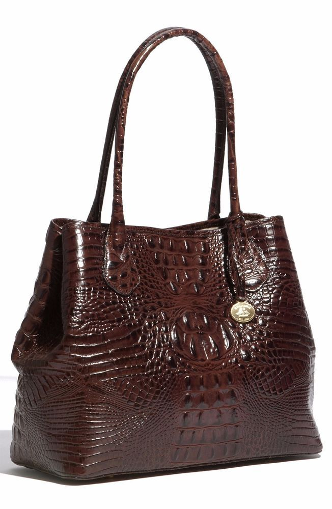 703e7f754767 ❤BRAHMIN ANYTIME TOTE TRUFFLE BROWN CROC SHOPPER ALL DAY LEATHER BAG ~  COCOA ❤ in Clothing