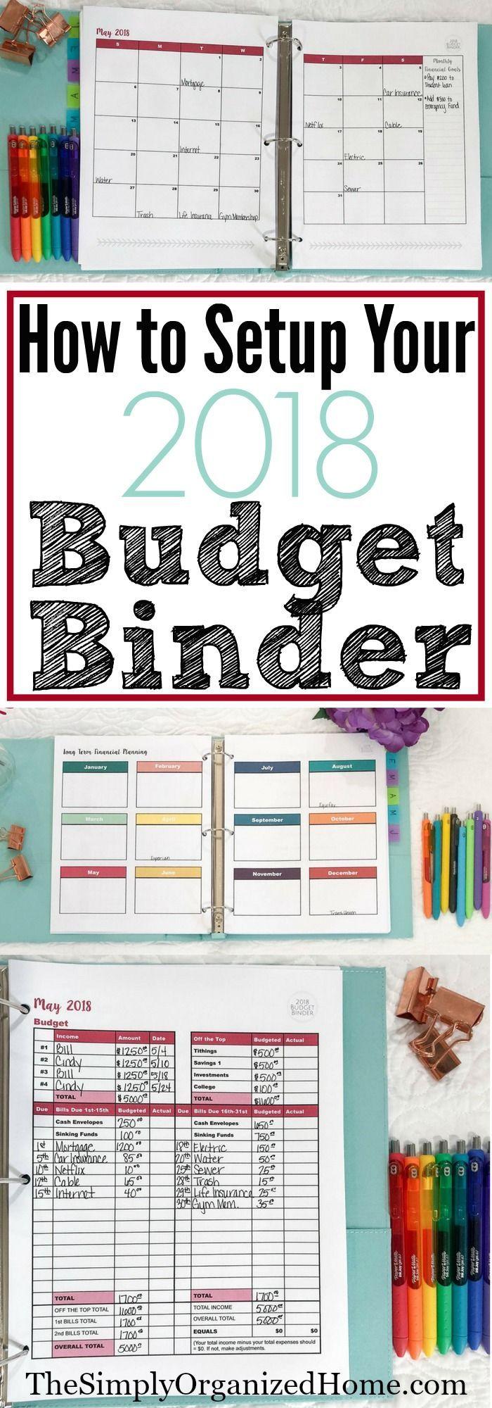 How to Setup Your 2018 Budget Binder | Finanzen, Notizbuch und Kalender