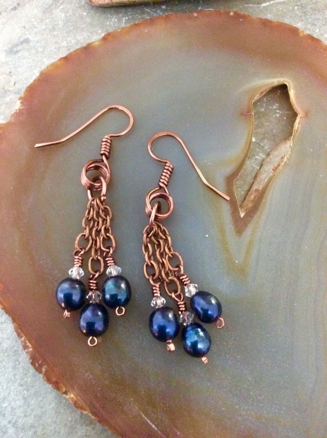 Boho Black Pearl Dangle Earrings Wire Wrapped Hammered Antique ...