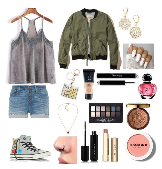"""Untitled #668"" by lalimalenagonzalez-1 on Polyvore featuring beauty, Madewell, Hollister Co., Converse, Kate Spade, Maybelline, Lauren Ralph Lauren, Marc Jacobs, Stila and LORAC"