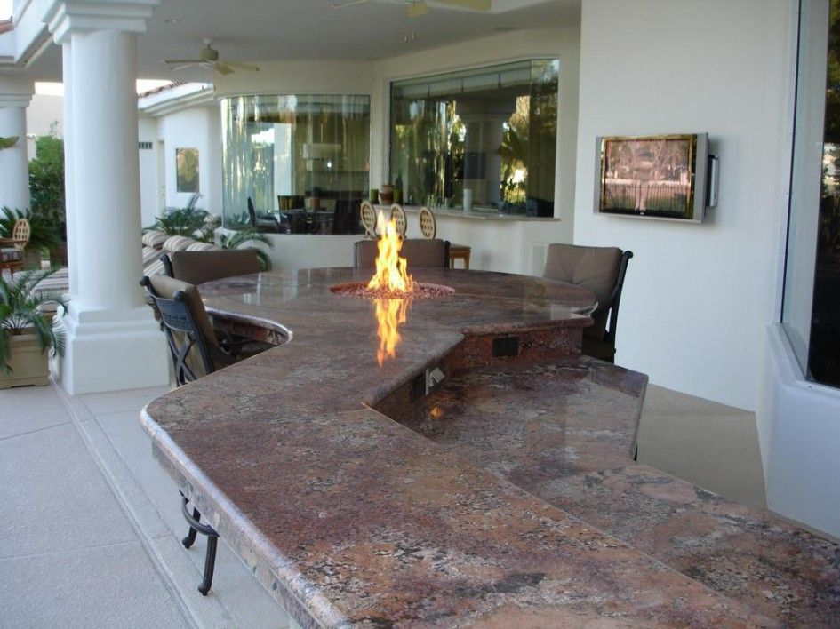 Stunning Outdoor Kitchen Las Vegas With Granite Outdoor Kitchen Countertops  And Counter Height Fire Pit Table