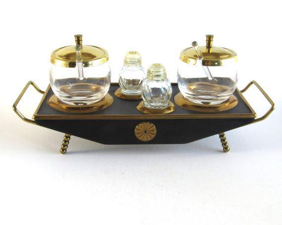 Art deco kruiderij instellen gouden glas art nouveau vintage