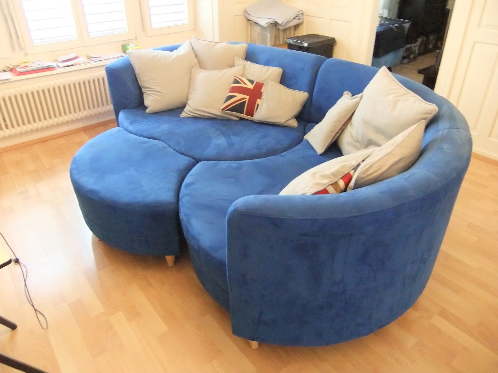Soothing Blue Couch Living Room Furniture Pictures  Creative Design Round  Blue Couch Sectional Style With Stainless Steel Leg On Laminate Wooden  Floors Also  U Shaped Dark Blue Couch Leather U Shaped Sofa Sale Furniture  . Round Sofa Chair Living Room Furniture. Home Design Ideas