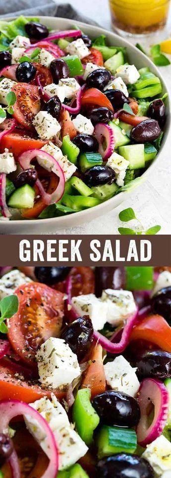 This Greek salad is a healthy vegetable packed appetizer drizzled with a homemade red wine vinegar dressing. Each serving contains creamy feta cheese, kalamata olives, tomatoes, bell peppers, cucumbers and red onion.