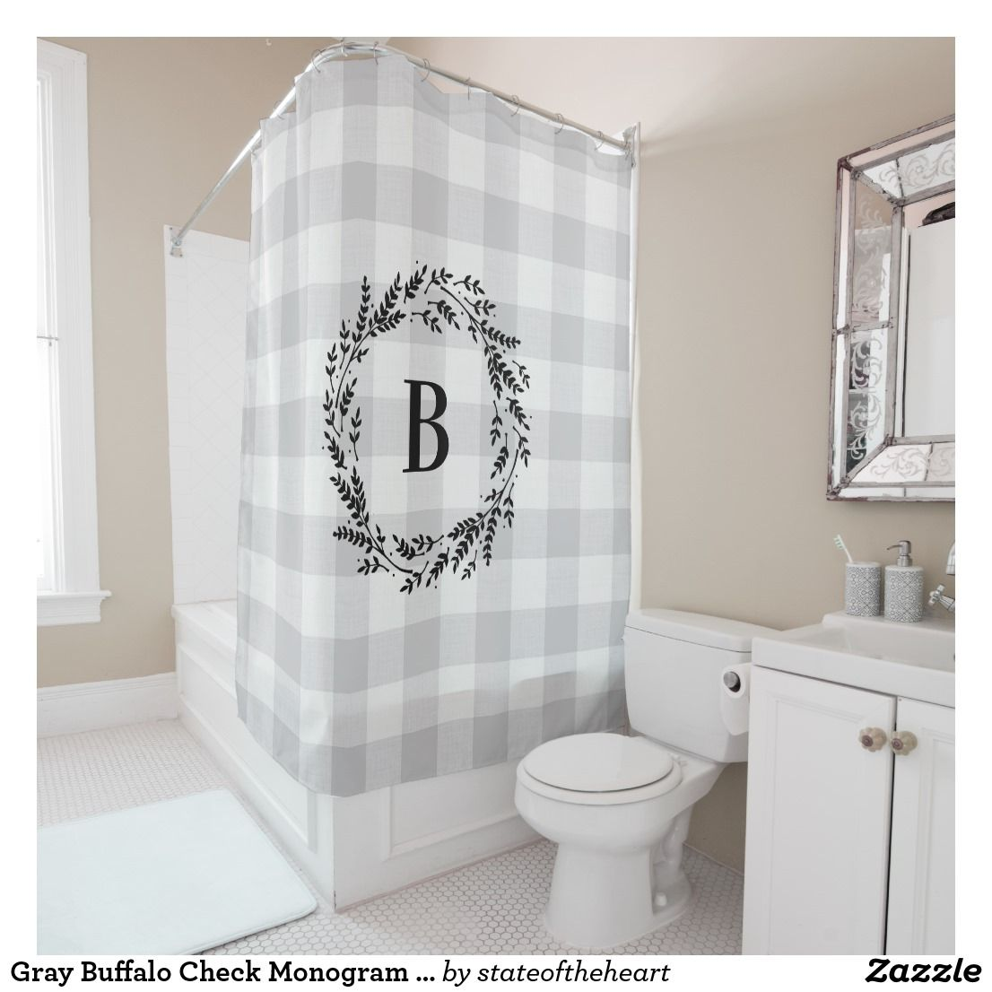 Gray Buffalo Check Monogram Farmhouse Bathroom Shower Curtain