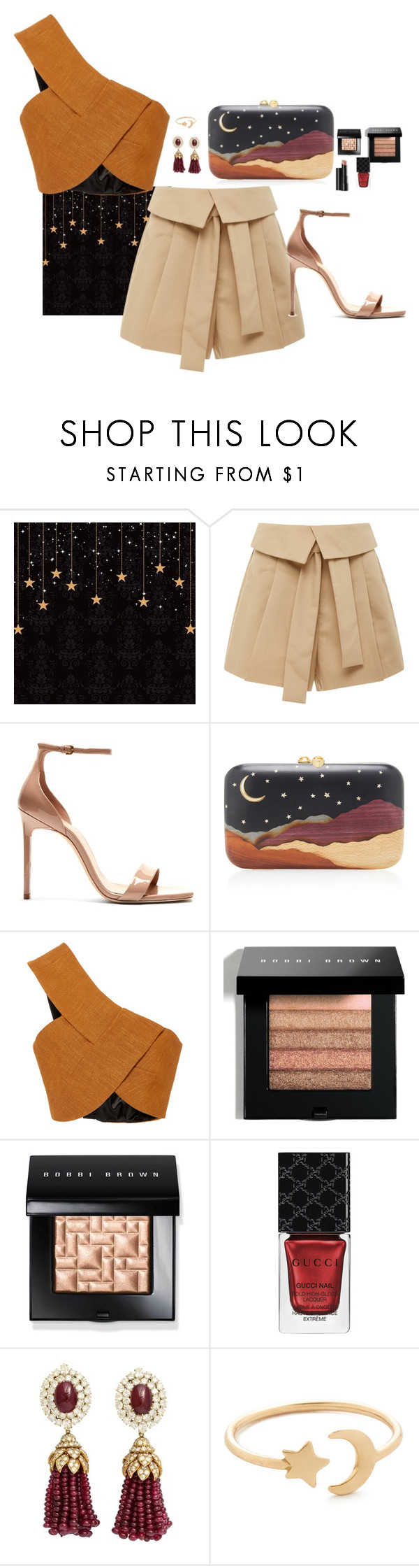 """""""Shorts on night"""" by claire86-c on Polyvore featuring moda, Acler, Yves Saint Laurent, Silvia Furmanovich, Rosetta Getty, Bobbi Brown Cosmetics, Arbonne, Gucci, Van Cleef & Arpels e Ariel Gordon"""