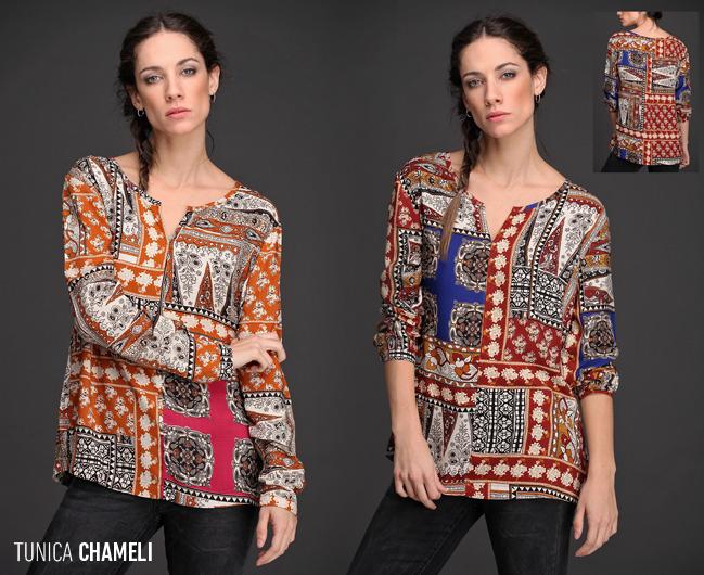 La Túnica Chameli tiene una hermosa caída. Su diseño estilo patchwork en colores saturados resaltan tu #look.