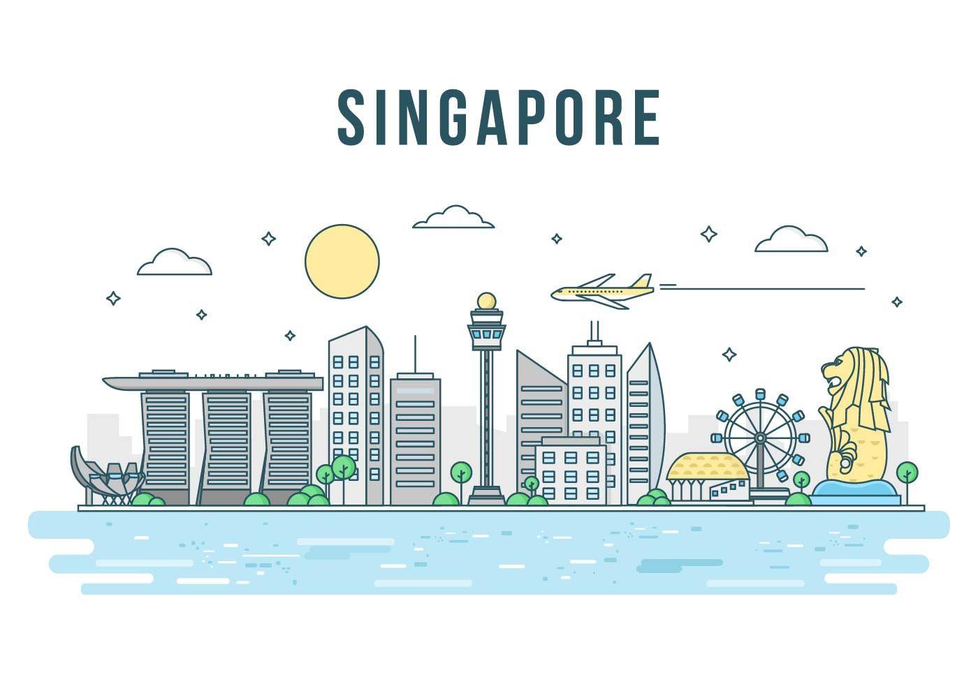 Free Merlion And Singapore Landmark Vector Singapore Art Singapore Map Singapore National Day