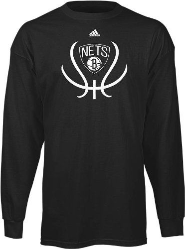 Brooklyn Nets adidas Black Groove Logo Basketball Long Sleeve T-Shirt  (X-Large)…