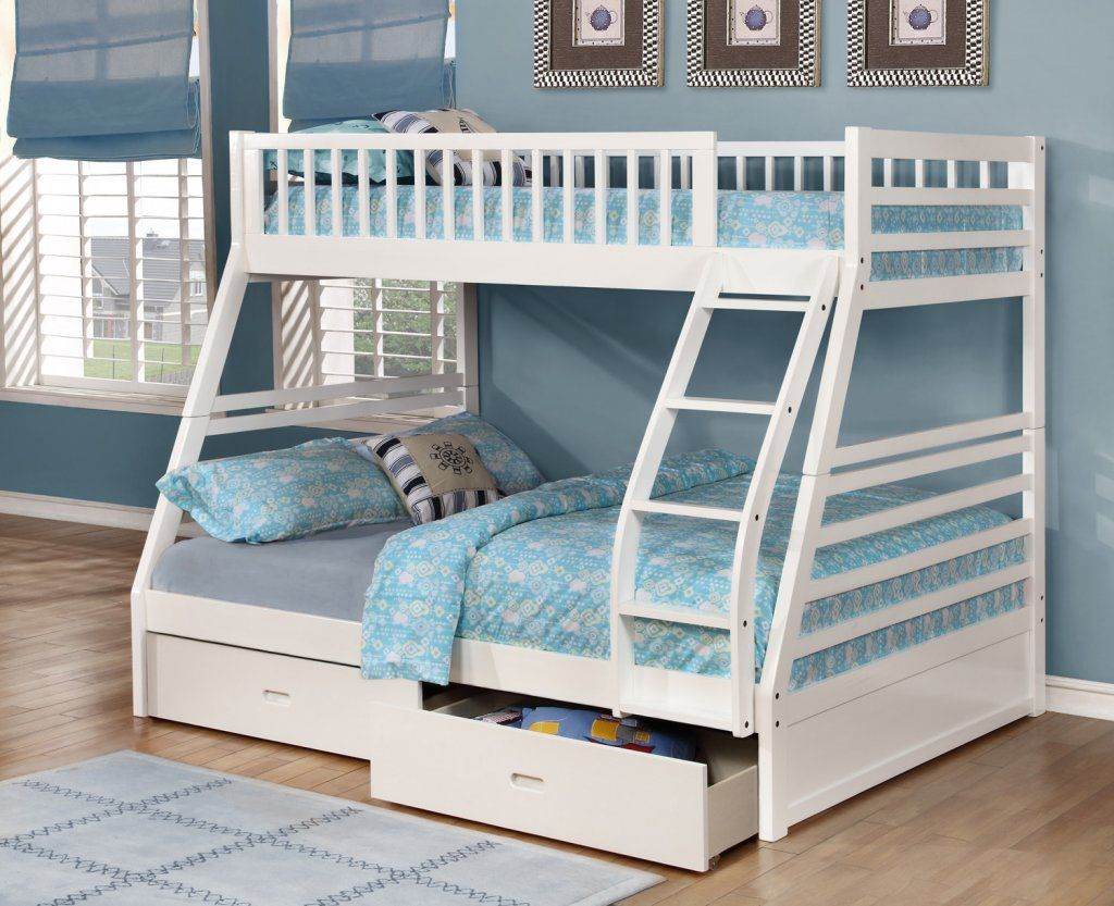 Best Fraser White Twin Over Full Bunk Bed With Storage Drawers 640 x 480