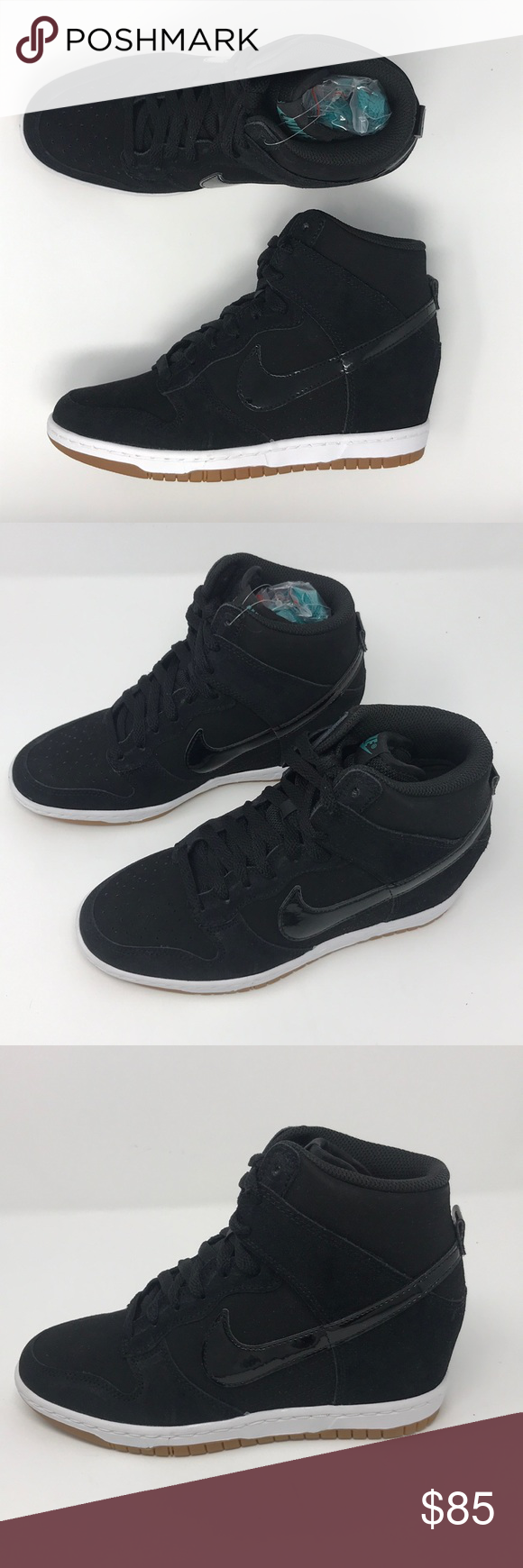 huge discount f0fb9 c11a5 Nike dunk ski hi essentials black gum bottom wedge Nike wedge sneaker -  suede Please note there will be slight scuff marks due to them being suede  Nike ...