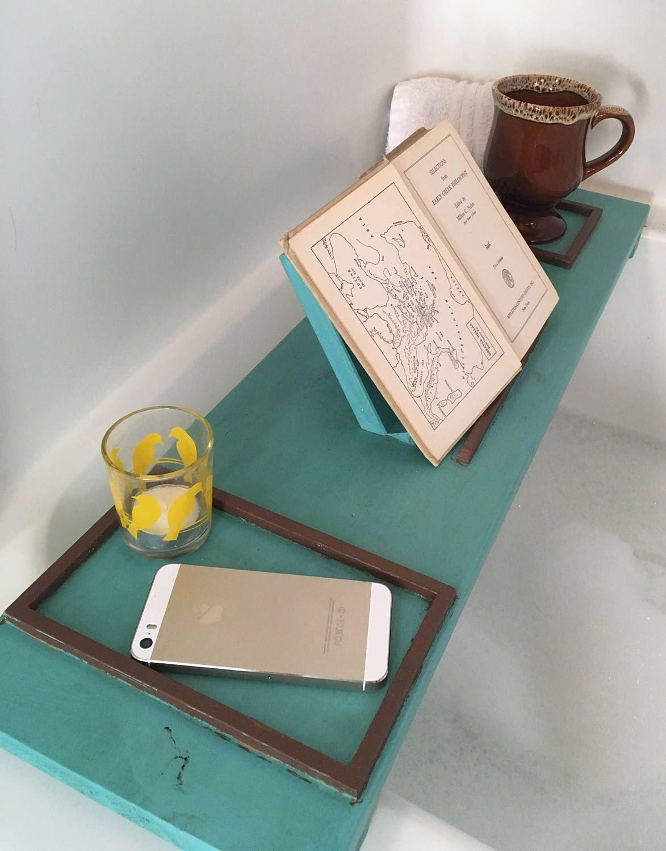 Aqua, Brown rustic wood bath tray, wooden, bath caddy, tablet holder ...
