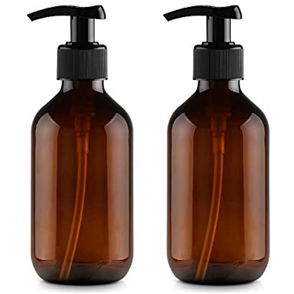 Pack Of 2 500ml Empty Plastic Refillable Amber Lotion Bottles Pump