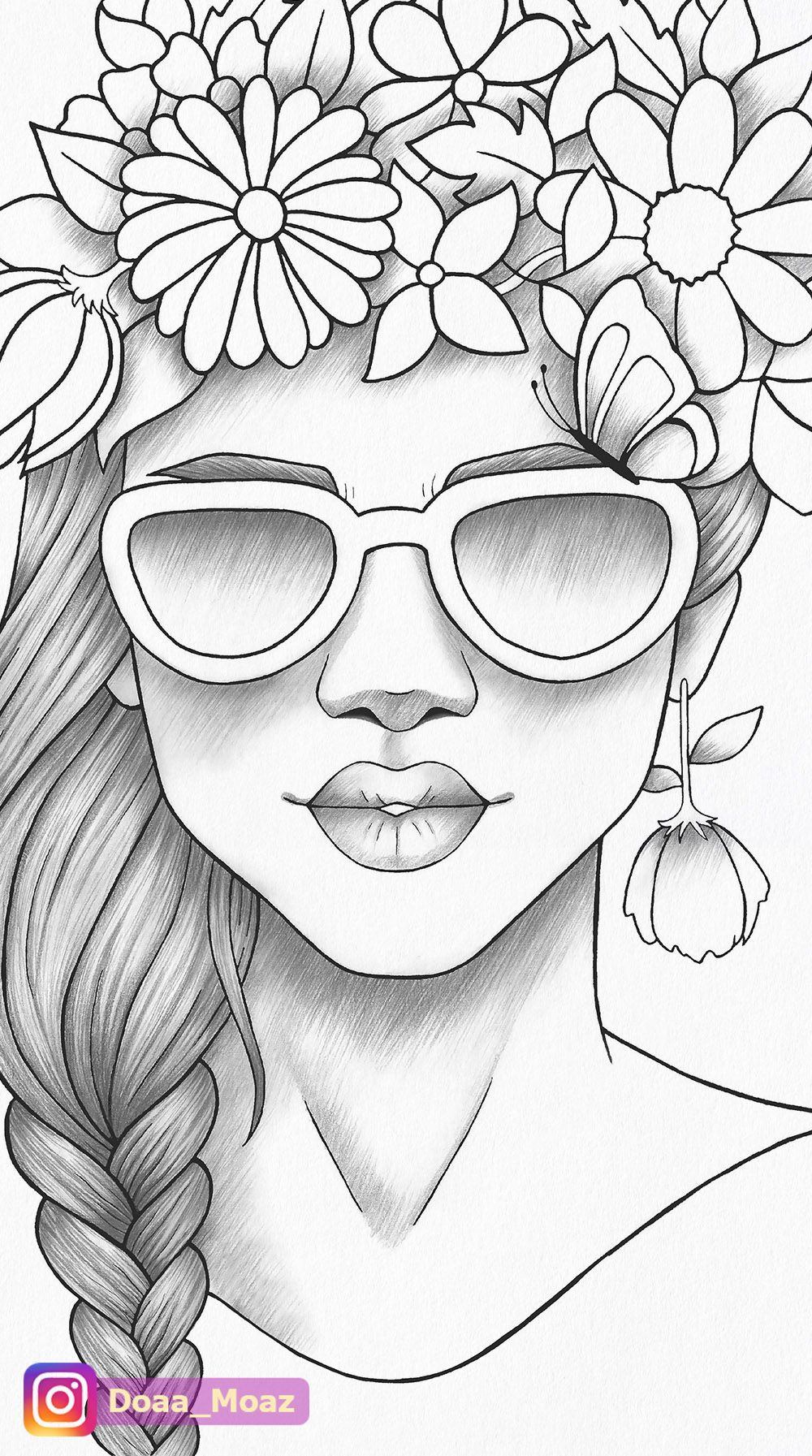 Printable Coloring Page Girl Portrait Colouring Sheet Flower Crown