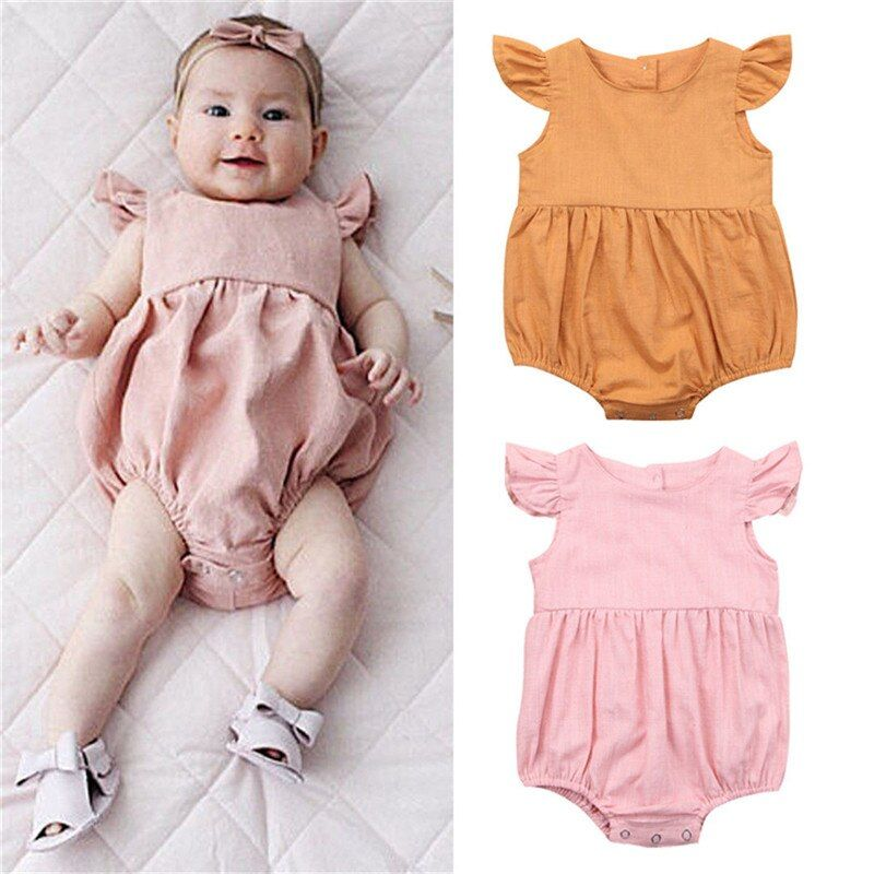 Soft Newborn Baby Girl Clothes Floral Romper Sleeveless Infant Toddler Children Jumpsuit Outfit Sunsuit 0-24M