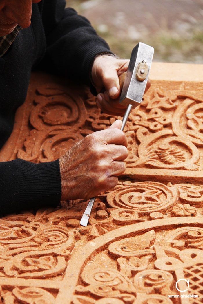 The making of a Khachkar (Armenian cross-stone)
