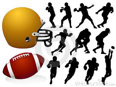 Siluetas de jugadores de fútbol americano. Pelota y casco.  70dc64eaa89f8