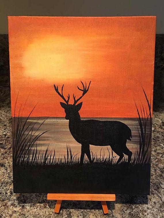 Deer Silhouette Acrylic Painted Canvas By Kooskreations On