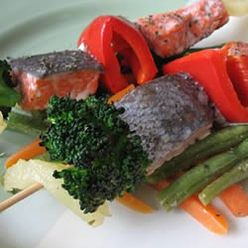 Seafood, Gingery Fish Kabobs, Men Who Eat Fish Just Once A Month Have Fewer Ischemic (Blocked Blood Vessel) Strokes, Says A Harvard Study. For Your Dose, Try This Easy Summer Recipe.