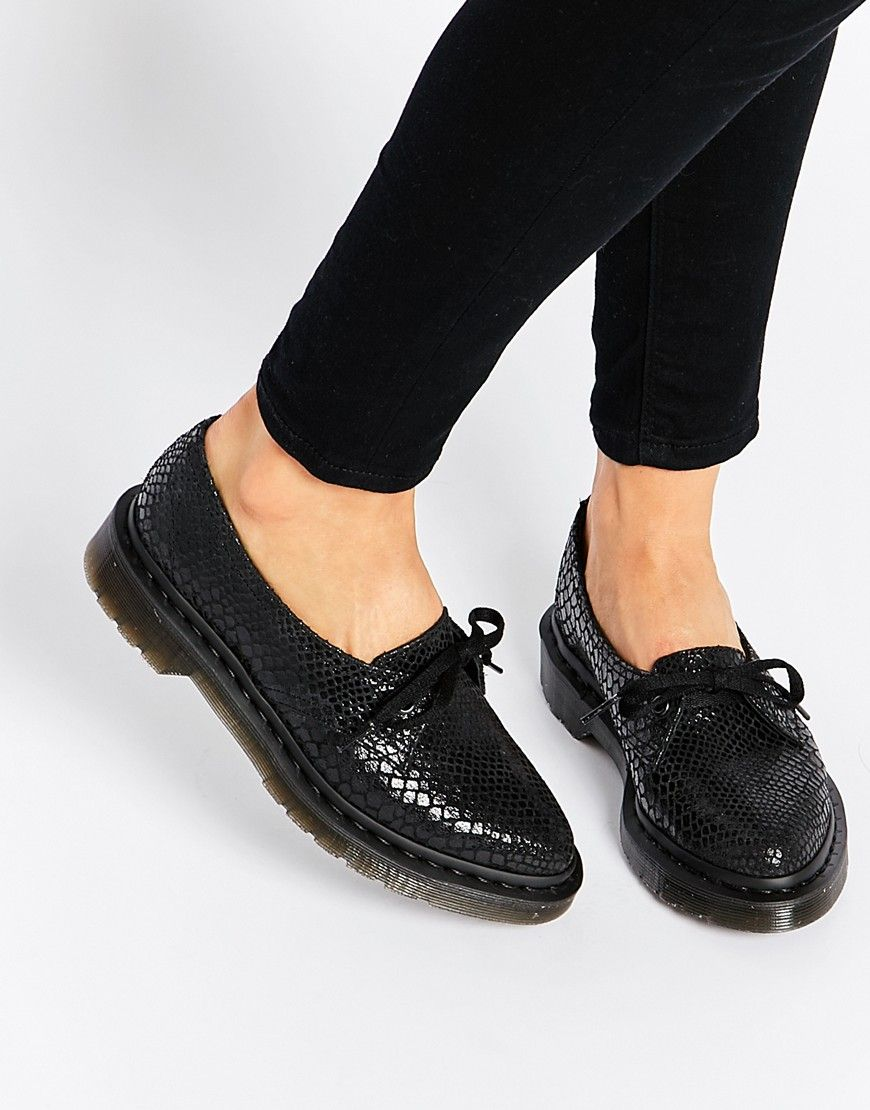 Dr Martens Core Siano Black Snake Flat Shoes at asos.com