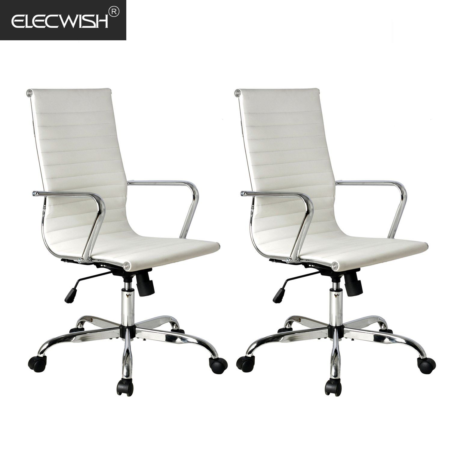 2018 Executive Ergonomic High Back Office Chair Ribbed Pu