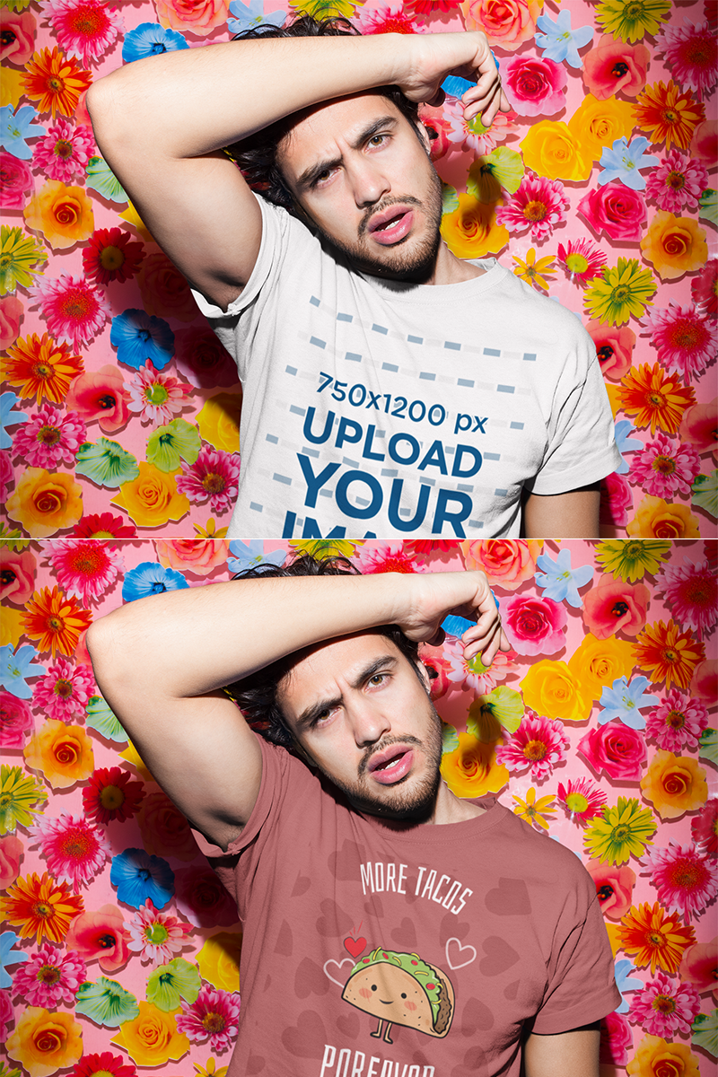 Download Placeit T Shirt Mockup Featuring A Man With Brown Eyes Shirt Mockup Clothing Mockup Shirts