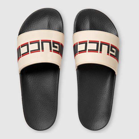 9d24a2bb2b2a0c Gucci stripe rubber slide sandal A new distinct detail of the House ...