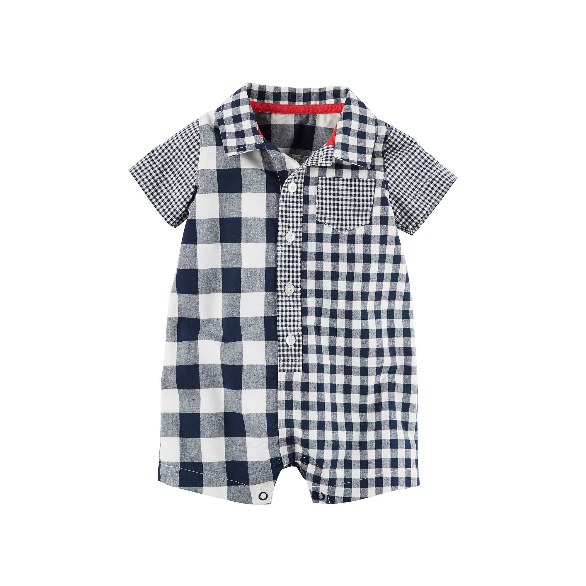 Carter/'s Baby Boys Short Sleeve Button-Down One-Piece Romper Red//White//Blue