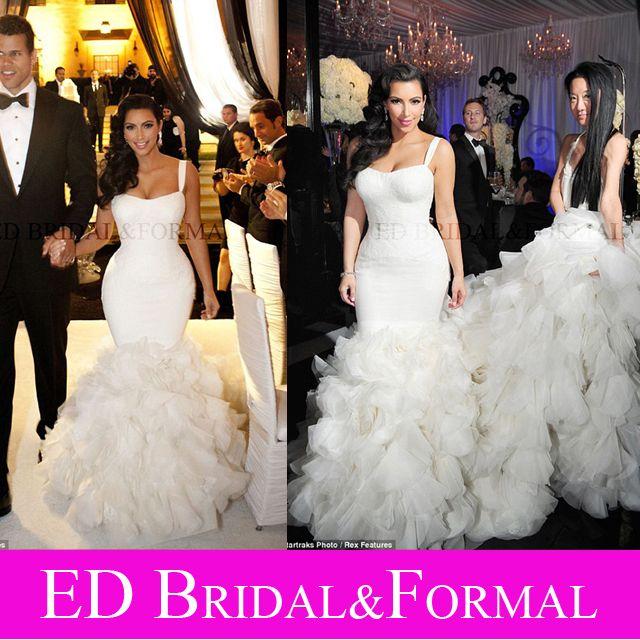 Kim Kardashian Wedding Dress Lace Mermaid Ruffle Celebrity Wedding ...