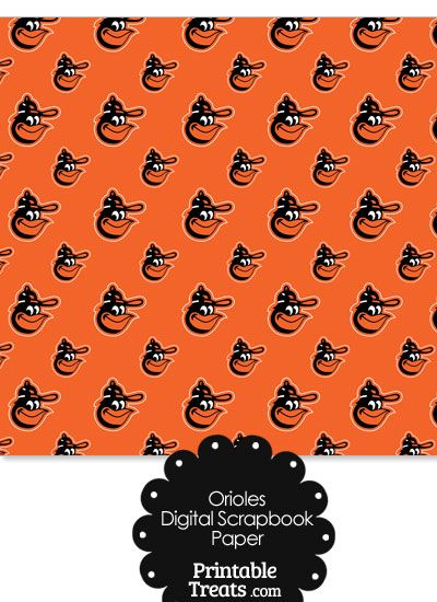 Baltimore Orioles Baseball Digital Paper With Orange Background From