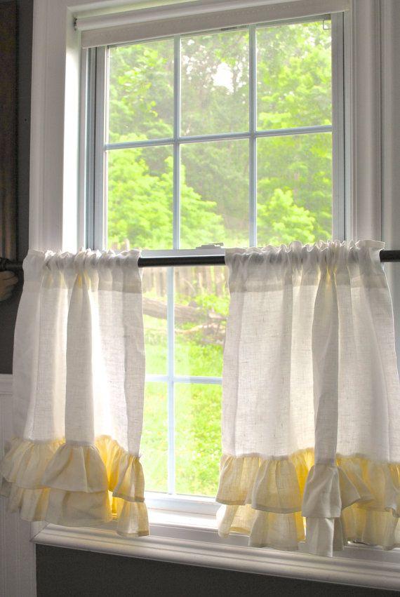Linen Cafe Curtains   Vorhänge, Leinen und 60er