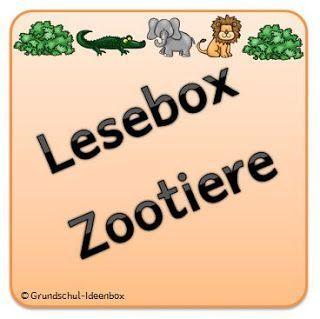lesebox zootiere grundschul ideenbox klasse zootiere deutsch lesen und silben lesen. Black Bedroom Furniture Sets. Home Design Ideas