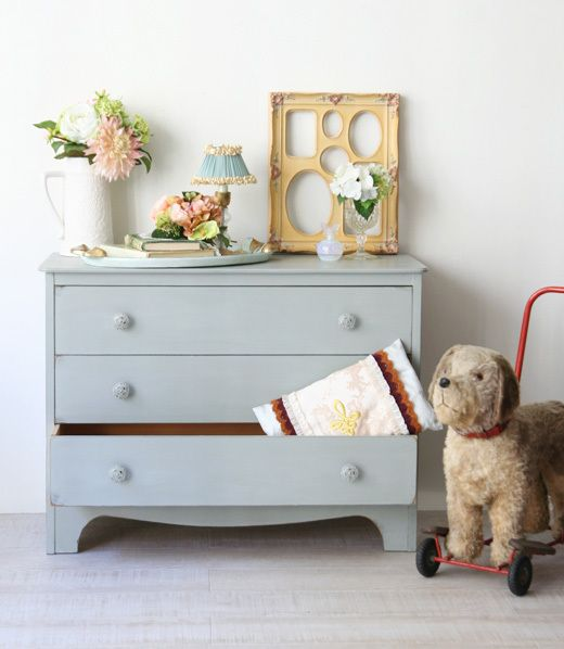painted dresser and vintage dog on wheels