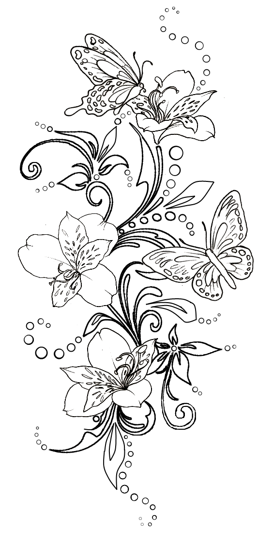 Butterfly And Flowers Tattoo By Metacharis On Deviantart Swirl Tattoo Coloring Pages Coloring Pictures