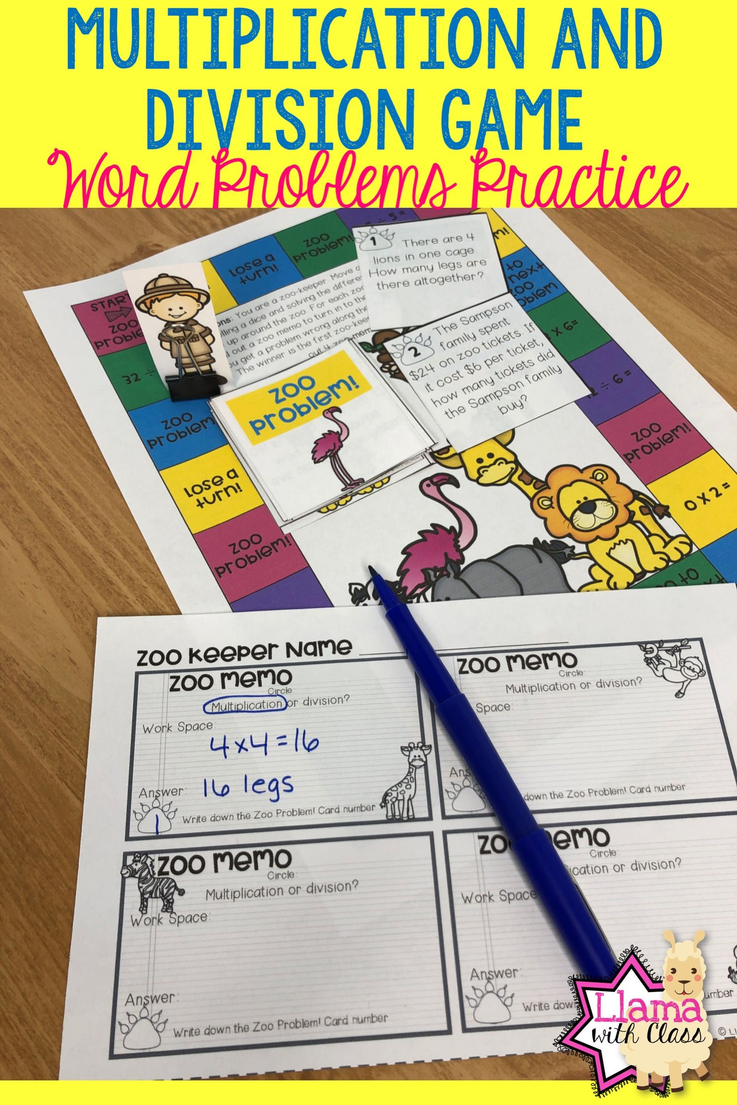 Multiplication And Division Game For Word Problems And