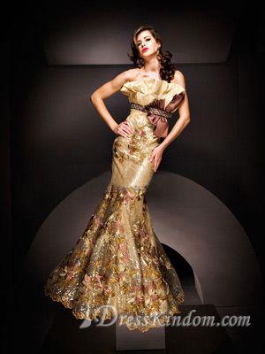 Gorgeous Trumpet / Mermaid Strapless Floor-length Taffeta Beaded Prom Dress / Evening Dress [10105593] - US$196.99 : DressKindom