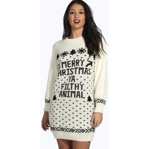 Boohoo Mia Merry Christmas Ya Filthy Animal Jumper Dress ($30) ❤ liked on Polyvore featuring tops, sweaters, cream, white knit sweater, animal print tops, white jumper, chunky knit sweater and cream sweater