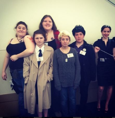 Nashicon Superlock cosplay: Sherlock, John, Irene, Sam, Dean, and Cas