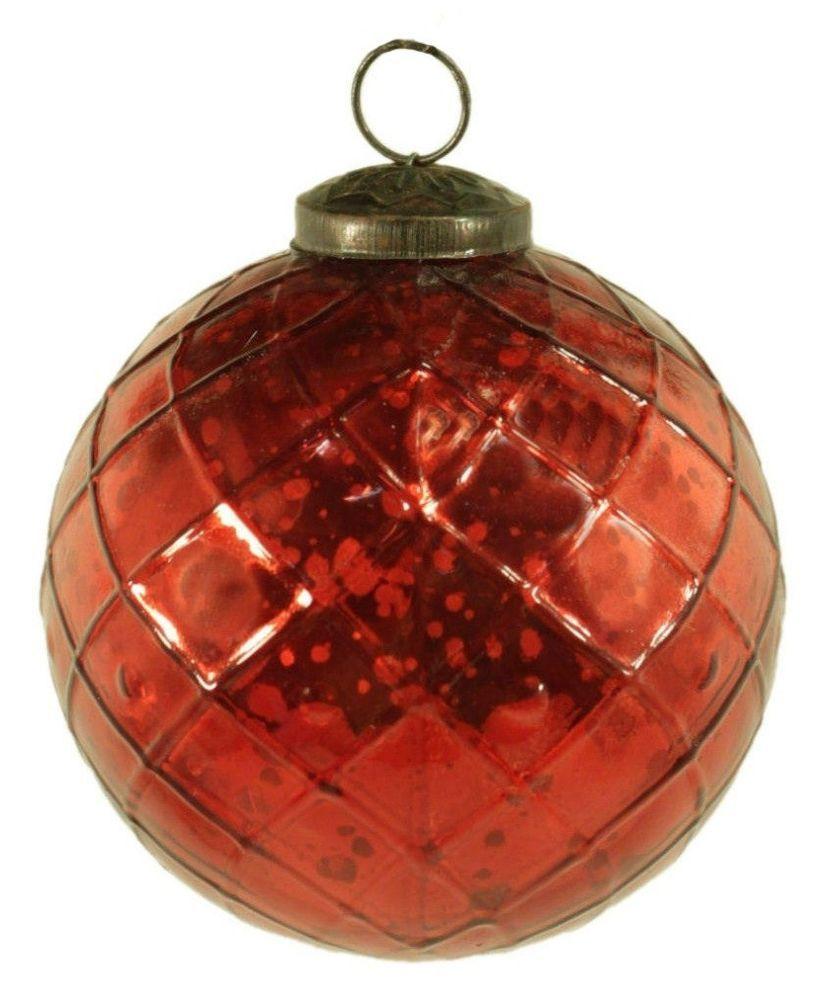 "Mercury Glass Decorative Balls 4"" Mercury Glass Red Ball Ornament  Christmas Tree Holiday"