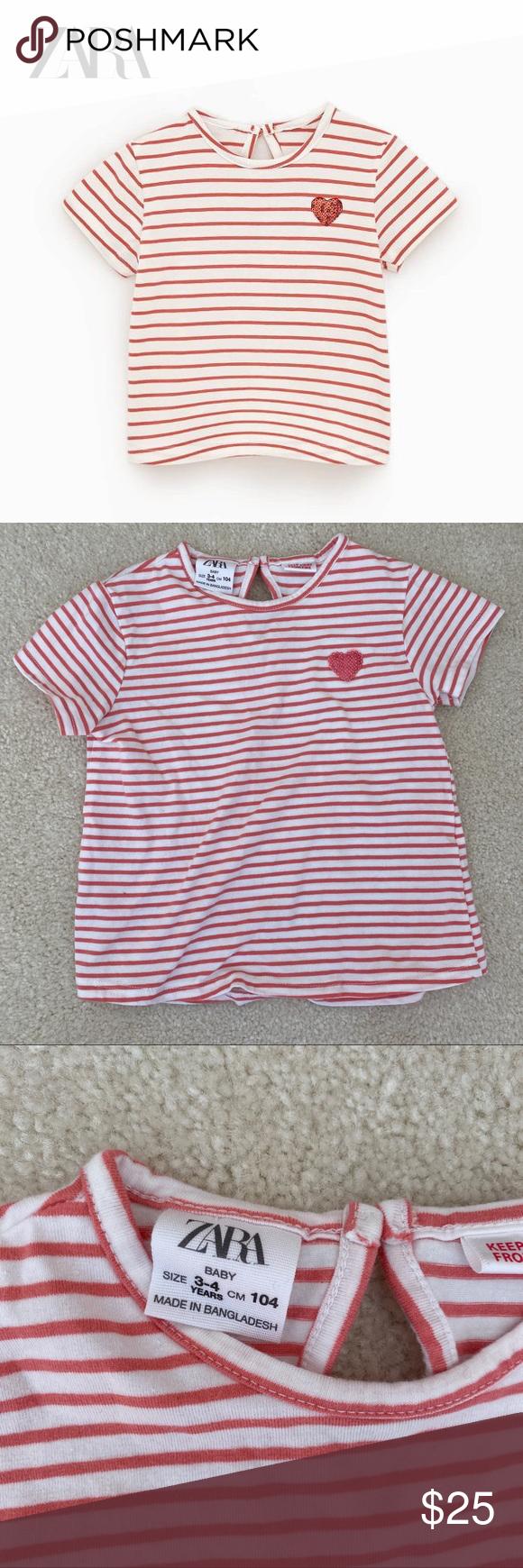 Zara Baby Striped Sequin Heart Shirt In amazing and clean condition. Zara Shirts... ,  #amazing #BABY #Clean #condition #heart #SEQUIN #Shirt #Shirts #STRIPED #ZARA #zarakidsred